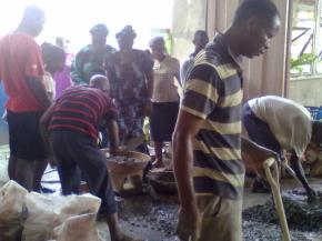 Brethren are working during the Construction of the Children Church